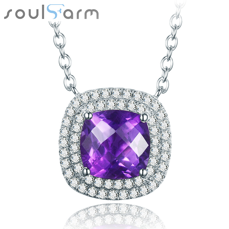925 Sterling Silver Necklace for Women White Gold Plated Women Accessories Fancy Square Purple Crystal Necklace luxury 925 sterling silver rhinestone torques for women big crystal pendant necklace silver plated banquet costume necklace