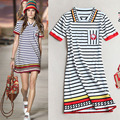 High End Turn-Down Collar Short Sleeves Mini Runway Dress 2016 Striped Print Embroidery Mini Women Dress  61908
