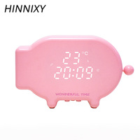 Hinnixy Pig Shape Clock Bedside Lamp Rechargeable 18 Ringtones Sound And Light Control Temperature Snooze Alarm Night Lights
