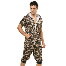 Centuryestar Mens Camouflage Summer Cool Short Pajamas Onesie One Piece Hooded Pijama Hombre Combinaison Pyjama for Adults Men