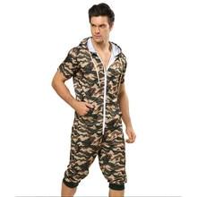 324c545cd3626 Centuryestar hommes Camouflage été Cool court pyjamas Onesie une pièce à  capuche Pijama Hombre Combinaison Pyjama pour adultes h.
