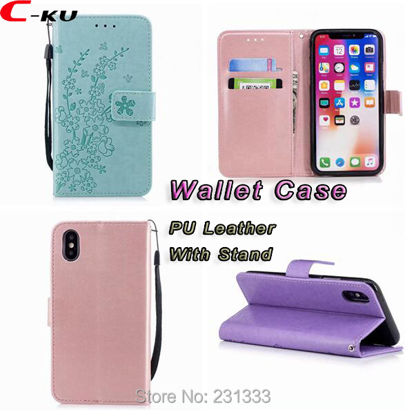 C-KU Flower Wallet Leather Pouch Case For Iphone X 8 7 PLUS 6 6S 5 SE 5S For Huawei Honor 8 9 P9 LITE P10 P20 Stand Cover 100PCS