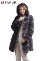 LIYAFUR New Design Long Rex Rabbit Fur Hoodie Coat For Women Winter Warm Fashion Fur Hood Coats Jacket Natural Fur Outerwear