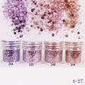 1 Caixa de 10 ml Rosa Roxo Pó Glitter Hexagon Forma Folhas Em Pó Dicas Nail Art Decoração