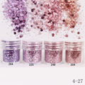 1Box 10ml Pink Purple Glitter Powder Hexagon Shape Powder Sheets Tips Nail Art Decoration