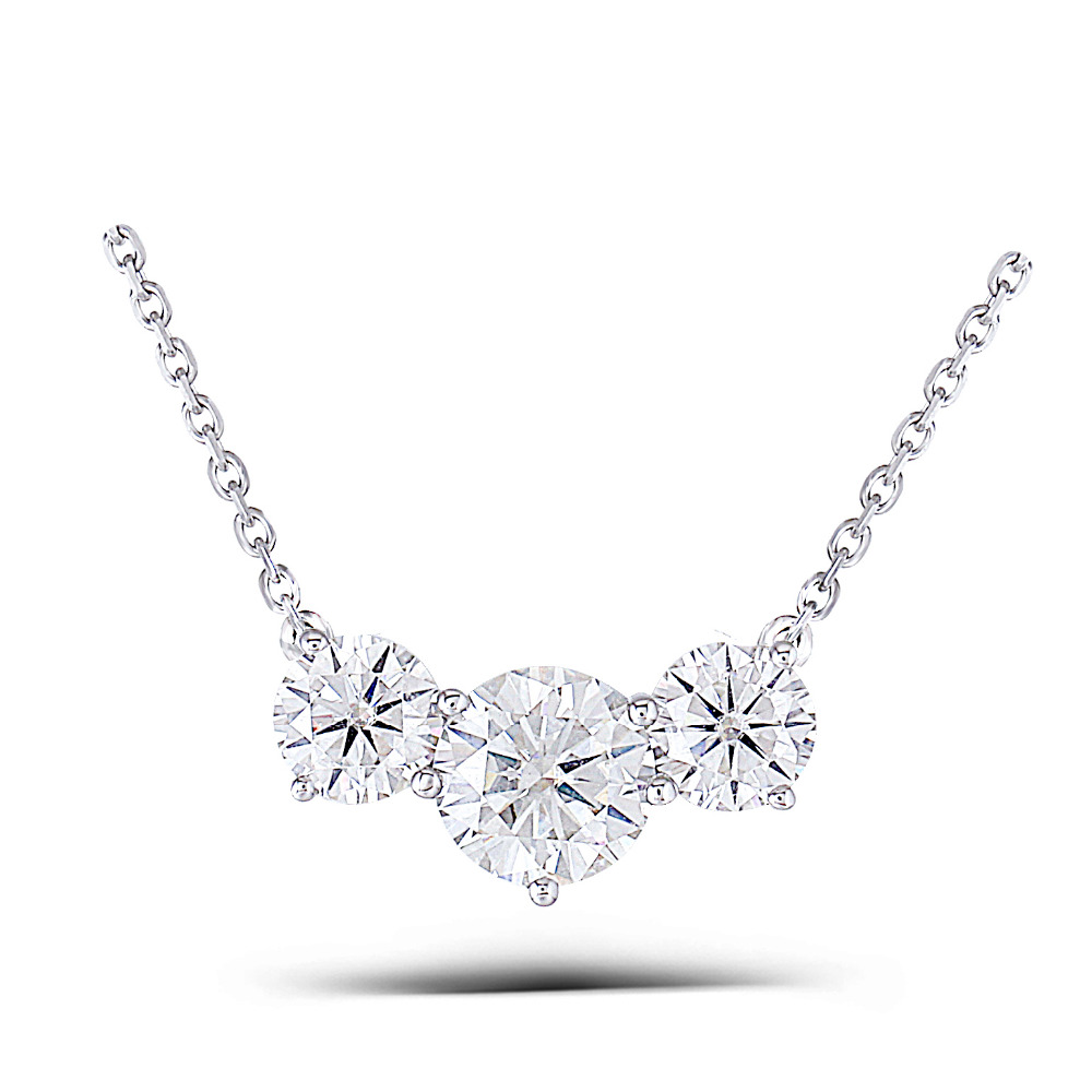 Transgems 18K White Gold 2 ctw Carat Lab Grown moissanite Diamond Solid Pendant Necklace Wedding Birthday Gift transgems 18k white gold 0 5 carat 5mm lab grown moissanite diamond solitaire pendant necklace for women jewelry wedding