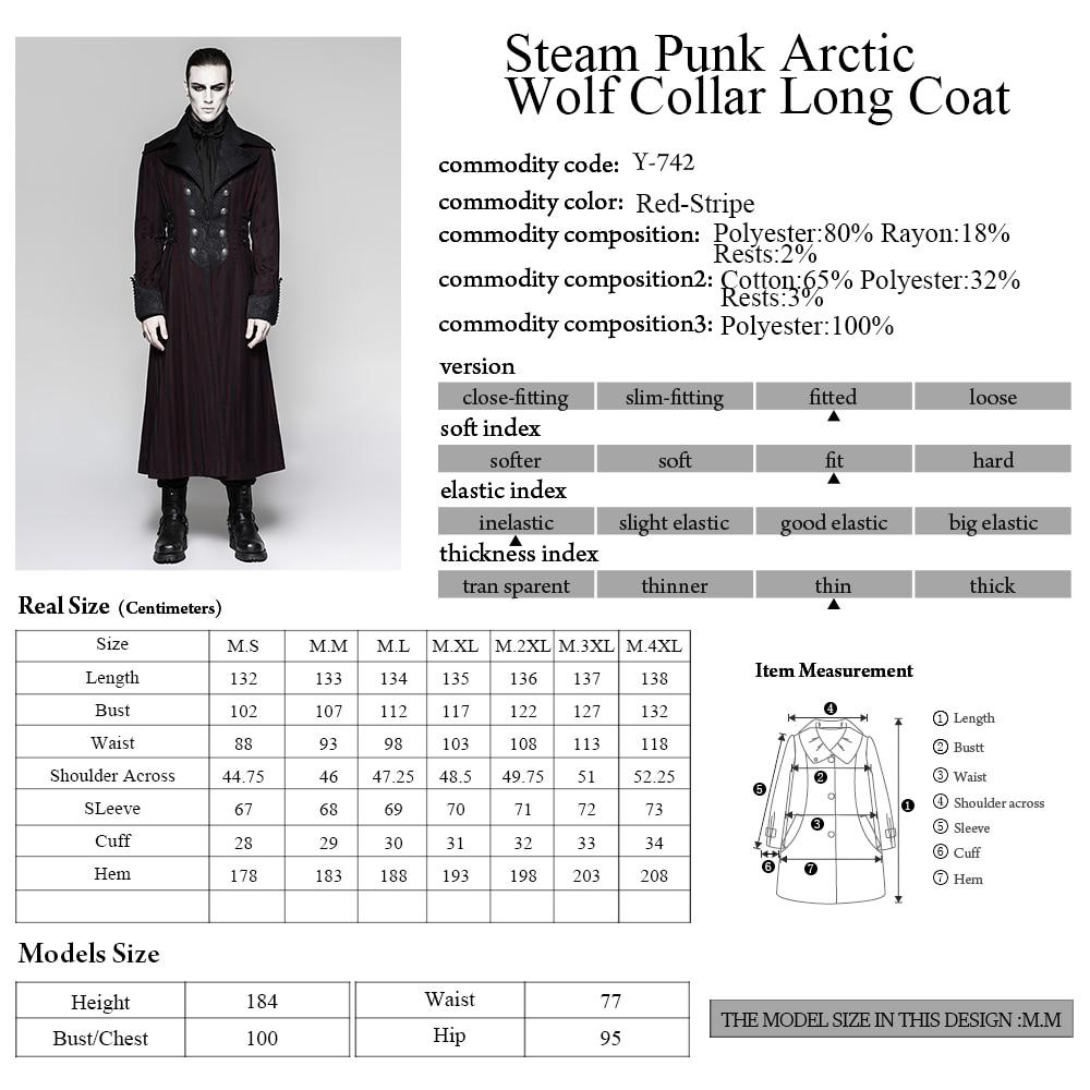 Punk Rave Steampunk moda Retro pałac wiktoriański Goth paski męska długi płaszcz kurtka Y742