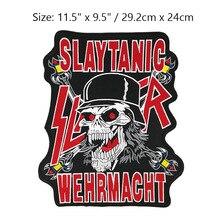 """WEHRMACHT SLAYER de 11,5 """", parche bordado en la espalda MC, chaleco de motorista, chaqueta de cuero, apliques de hierro, insignia Punk Rock de Metal pesado"""