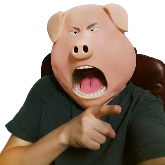 Funny Halloween Angry Curse Pig Head Scary Mask Creepy