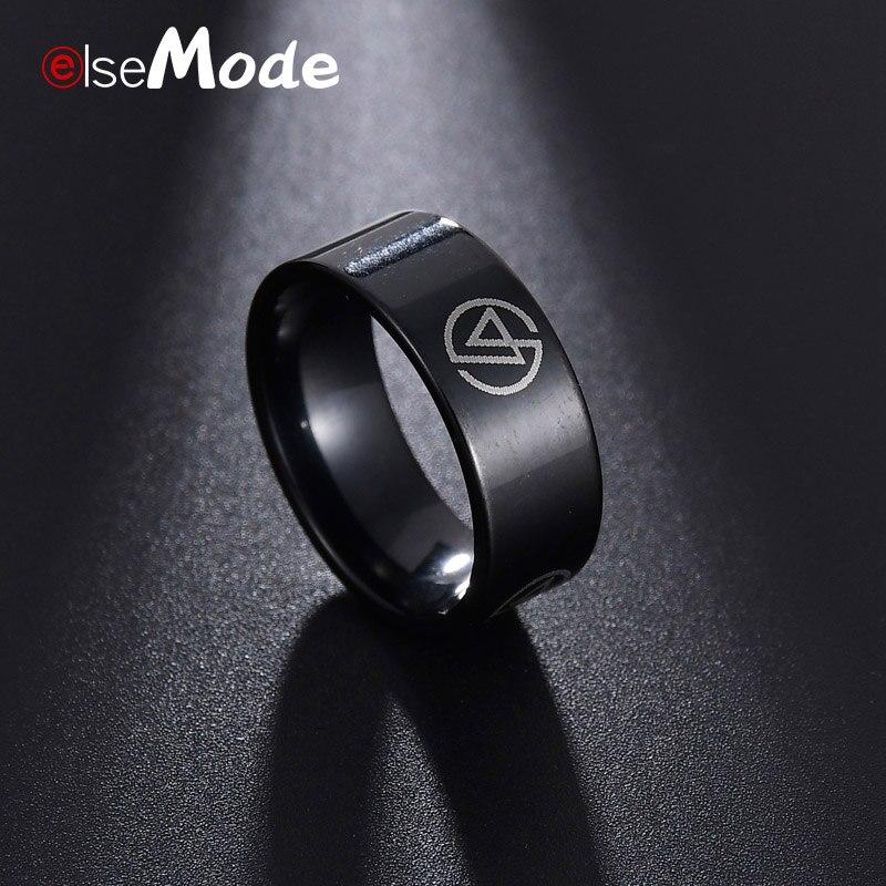 ELSEMODE Rock Linkin Park Fans Logo Black 8mm Ring...