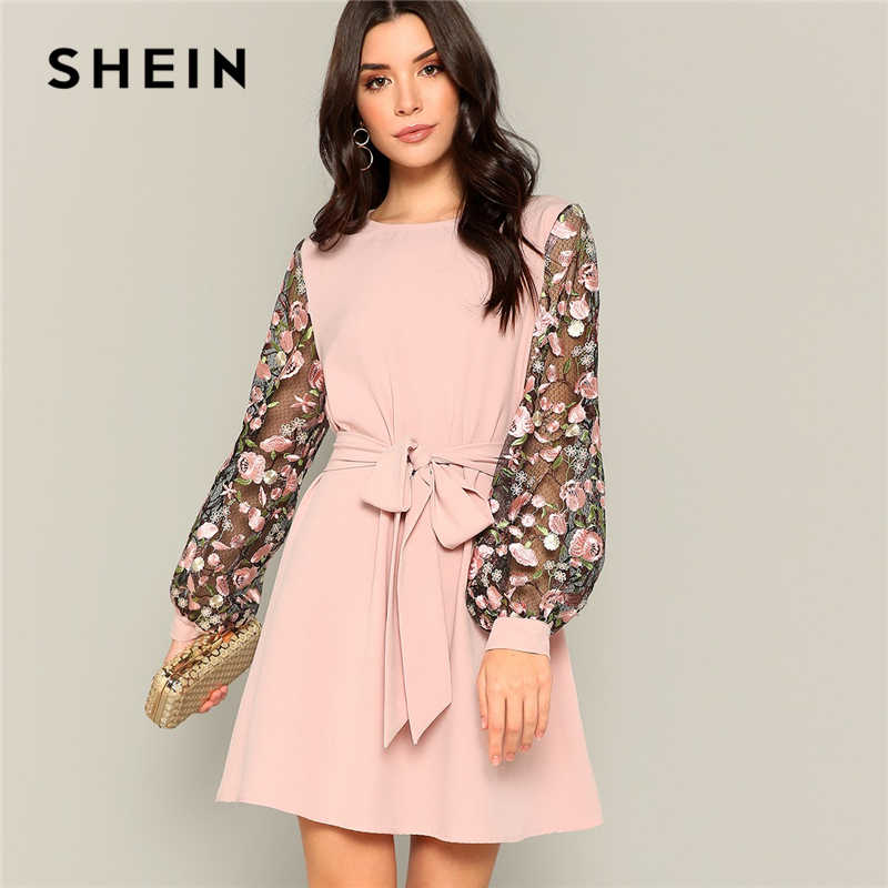 SHEIN Pink Flower Embroidered Mesh Sleeve Belted A-Line Dress Women 2019 Spring Long Sleeve Mid Waist Office Lady Mini Dresses