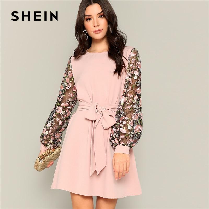Шеин розовая сеточка, вышитая цветами рукав с поясом ТРАПЕЦИЕВИДНОЕ платье для женщин 2019 Весна длинный рукав средняя талия офисные женские ...