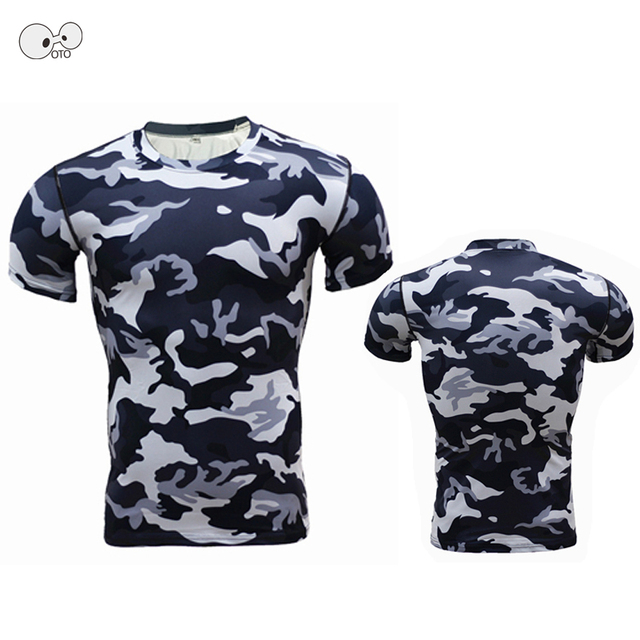 New Camouflage Compression Shirts Men Base Layer Running Short Sleeves Gym Workout T Shirts Camo Fitness Training Skin Tight Top