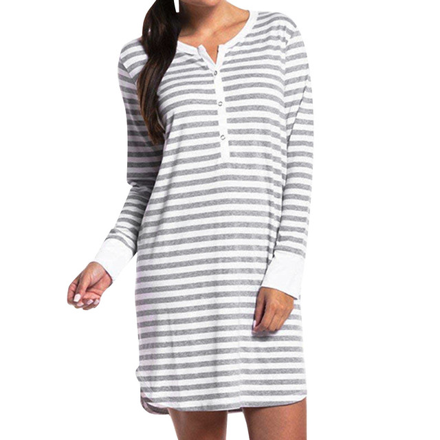 Women's Long Sleeve Button Nursing Nightie Stripes Maternity Breastfeeding Dress hamile gecelik maternity hot pajamas nightwear 4