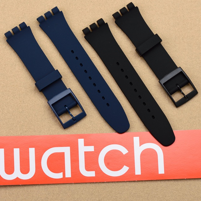 цены High Quality Black White Navy Brown 17mm 19mm 20mm Silicone Rubber Watchband For swatch Colorful Rubber strap plastic buckle