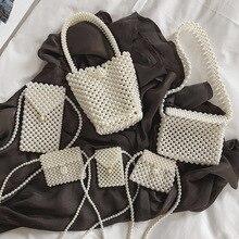 INS Handmade Womens Pearl Bag Beading Women Handbags Shoulder Messenger Cross Body Bags for Clutch Purses Tote 2019