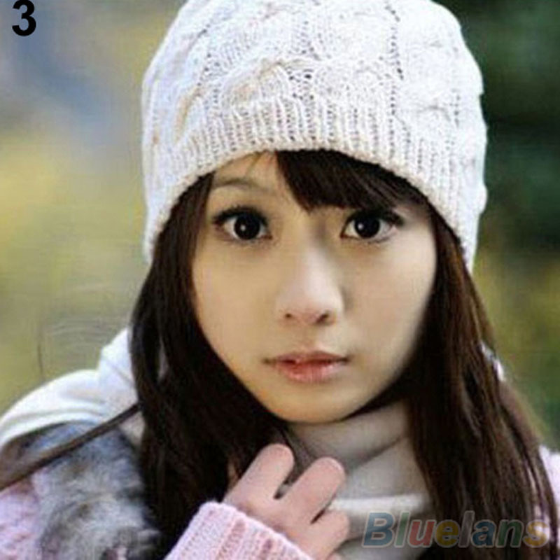 Hot Womens Winter Knit Crochet Knitting Wool Braided Baggy Beanie Hat Cap 228B Hot Sale
