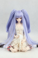 New Arrival 1/3 22 24cm 1/4 18 18.5cm 1/6 15 16cm purple Dual horsetail Removable Long hair SD PULLIP BJD Doll Wig