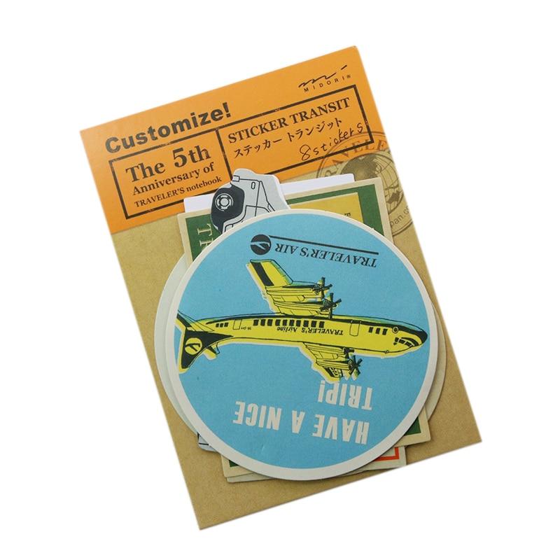 8 Pcs / Pack Traveler's Notebook Retro Aircraft Design Travel Stamp Sticker # Midori Traveler's Notebook Memo Pad midori