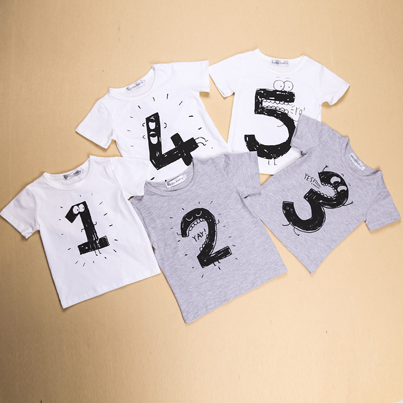 Baby Girls Boys T Shirts Children Birthday Number Cotton Cartoon Tees For Kids Summer Clothing 2016 H15015 In From Mother On