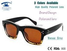 New Fashion 3 Colors Retro Sunglasses Women Polaroid Oculos Rivet Designer Square UV400 Polarized Sun Glass Brand 2015