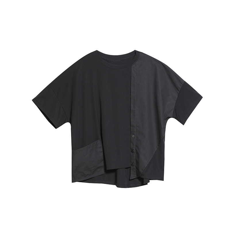 [EAM] 2020 New Spring Summer Round Neck Half Sleeve Black Button Split Joint Loose Big Size T-shirt Women Fashion Tide JX500 7