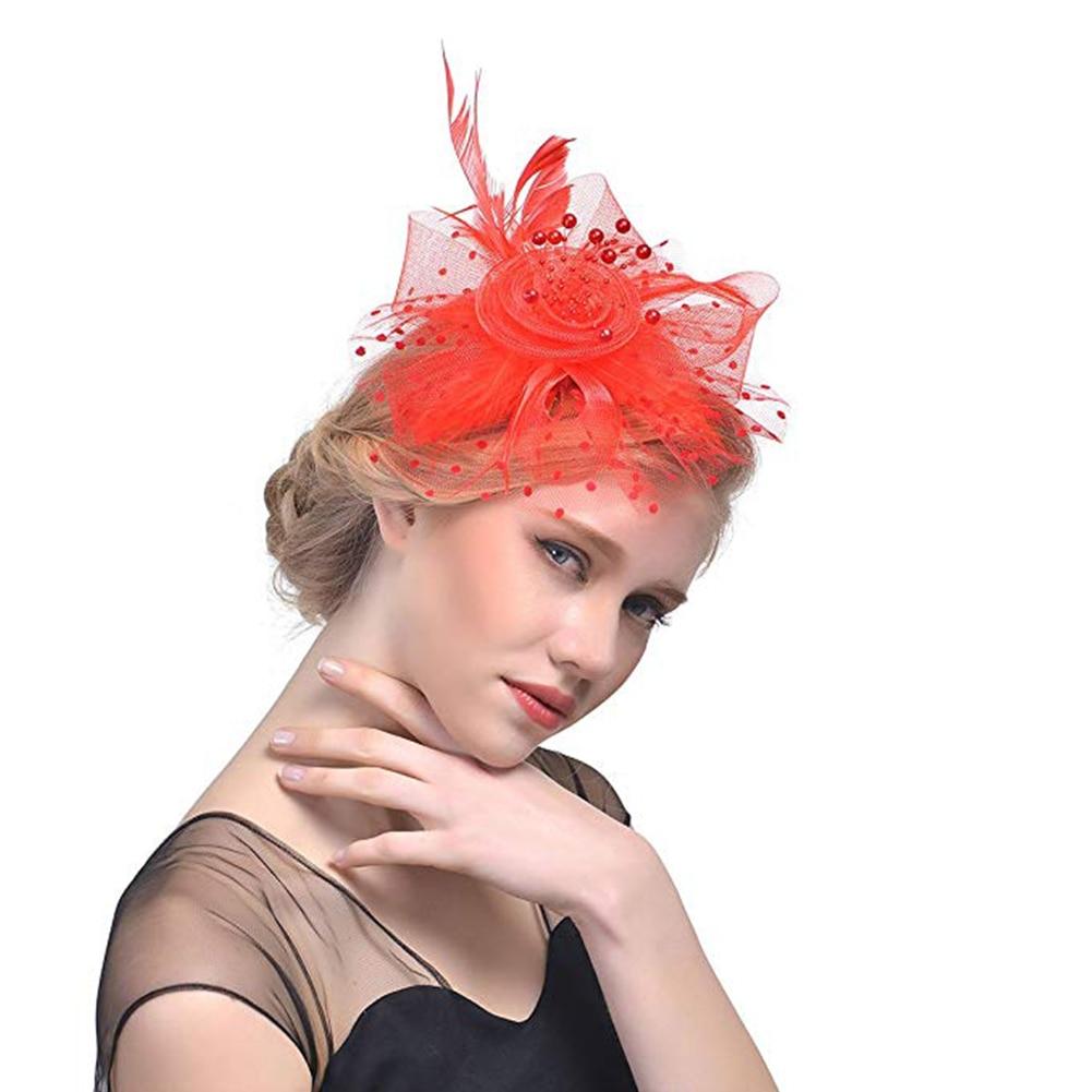 Women Bridal Vintage Party Elegant Artificial Feather Polka Dot Wedding Exquisite Fascinator Mesh Flower Hair Clip Beaded