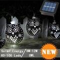 Marroquí linterna lámpara Solar decoración del jardín impermeable 60LED Solar Powered hadas de Metal de los animales búho luz de la secuencia para la navidad