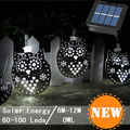 Moroccan Lantern Solar Lamp Garden Decoration Waterproof 60LED Solar Powered Fairy Metal Animal Owl String Light For Christmas