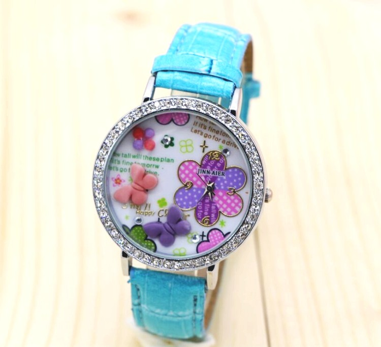 10pcs women watches Brand Fashion quartz-watch butterfly Womens clock relojes mujer dress ladies leather watch