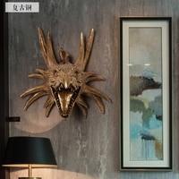 Cabeça Artes Artesanato Criativo retro Americano cabeça de animal pendurado na parede mural bar dinossauro pingente decorações da parede da cabeça dos cervos