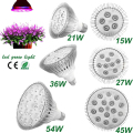 Ginaor LED Grow light Horticulture Lamp Bulb LED Grow Light Lamp E27 15W 21W 27W 36W 45W 54W Flower Plant Hydroponics System