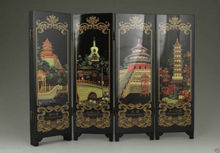 ( Mini ) Exquisite Chinese Collectable Lacquer Painting China Beijing Ornament Folding Screen