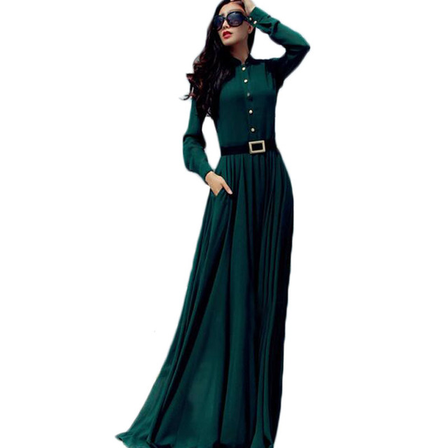 33dd2f21809174 ZYFPGS Maxi Women Dress Chiffon Party Long Dress Casual Boho Green Winter  Dresses Plus Size Elegant Vintage Dresses NL0132