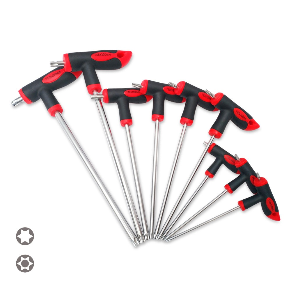 t handle grip torx Julydream 9PC T-Handle Torx Star Hex Key Set S2 Material T10 T15 T20 T25 T27 T30 T40 T45 T50 Screwdriver T-Through Torx Driver
