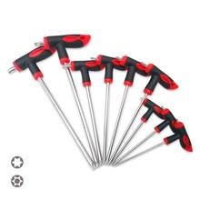 Julydream 9PC T-Handle Torx Star Hex Key Set S2 Material T10 T15 T20 T25 T27 T30 T40 T45 T50 Screwdriver T-Through Driver