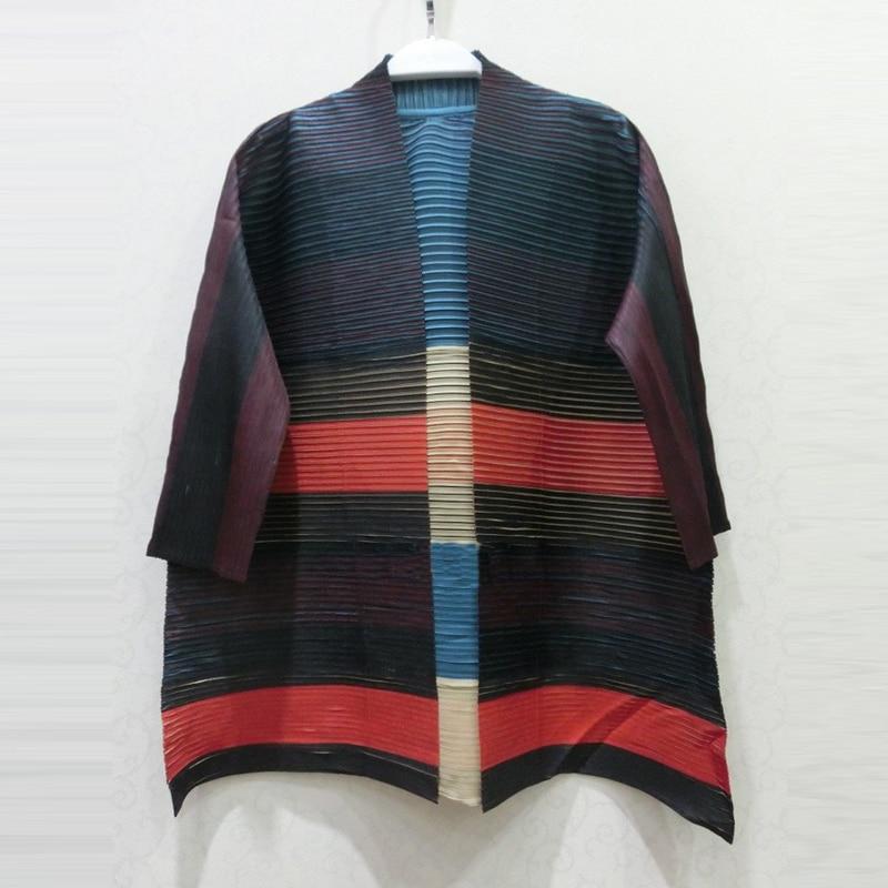 Changpleat 2018 Autumn women   Basic     Jackets   coat Miyak Pleated Design Stripe loose 3/4 Sleeve Female cardigan Coats Fashion Tide