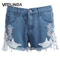 Vestlinda 2017 mulheres moda praia verão moda shorts jeans calções rendas feminino mid cintura zipper fly denim jeans mini shorts