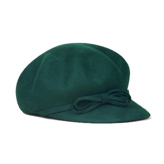 FS Women Wool Beret Hat Navy Blue Solid Bowknot Baret Winter Felt Fedora Caps Ladies Chapeu Feminino Boina
