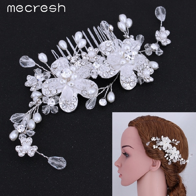 bceccc549 Mecresh Top Quality 100% Handmade Simulated Pearl Bridal Hair Combs Hair  Jewelry Wedding Hair Accessories