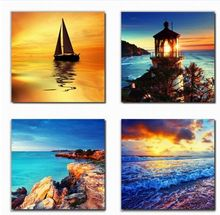 Best Art 4 Panel Modern Printed Beach light ship Picture On Canvas Kicthen Decor Cuadros Landscape For Living Room Home