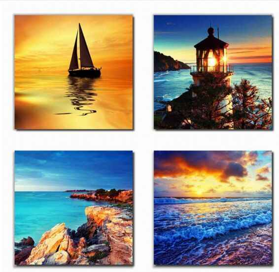 Best Art 4 Panel Modern Printed Beach light ship Picture On Canvas Kicthen Decor Cuadros Landscape For Living Room Home Decor