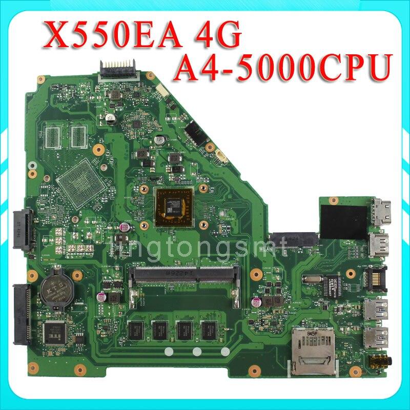 Original X550E X550EA X552E X552EA motherboard for asus X550EP Mainboard AMD A4-5000 Processor 4G memory on board test ok samsung rs 552 nruasl