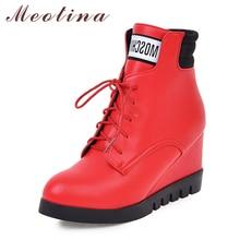 Meotina Invierno Mujeres Botines de Cuña de la Plataforma Botas de Tacón Corto botas de Piel Lace up Zapatos Rojos Femeninos Tamaño 34-43 Damas calzado
