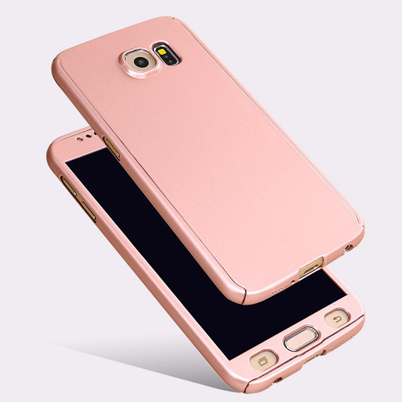 360 Derece Full Body <font><b>Case</b></font> Cove for coque <font><b>Samsung</b></font> Galaxy <font><b>S7</b></font> S6 Front Back Protector Rose <font><b>Gold</b></font> <font><b>Case</b></font> Capinhas Para + Temper Glass image