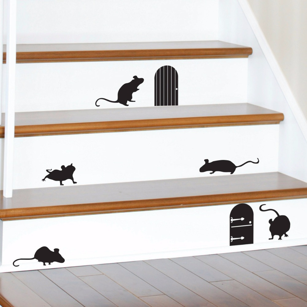 Happy halloween animal mice doors silhouettes living room for Decoration porte sticker