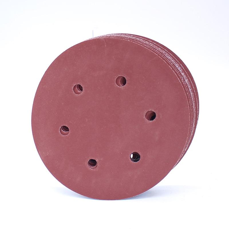 10pcs 6 Inches 6 Holes Round Sand Paper Polishing Sheet Abrasives