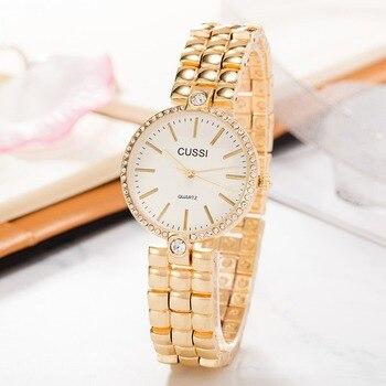 b1241445cda1 CUSSI reloj de la marca de las mujeres de la moda pulsera de oro relojes  damas relojes reloj Casual de cuarzo