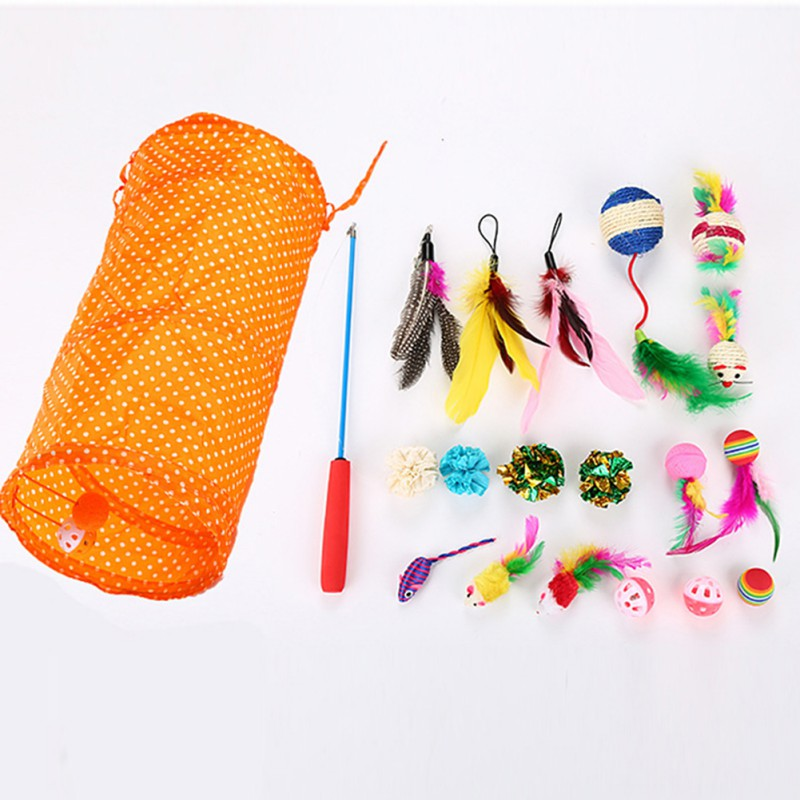 20 pcs Pet Cat toy Set Feather Teaser Wand Toys Ball Rings Interactive Products Cat Tunnel Telescopic Rod Pet Accessories