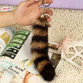 High Quality Fur Brand Bag KeyChain Car Keyring Brown Raccoon tail Design Key Chain Fur Brand Bag Charms Key chain Fur Keyrings